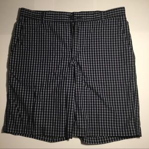 Navy Blue and White Plaid Men's Shorts